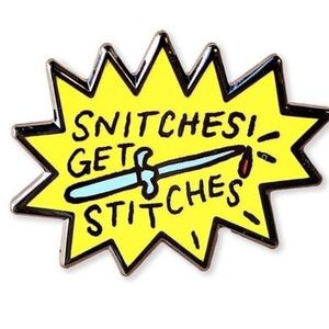 Jewelry - Private listing - Snitches Get Stitches Pin